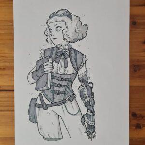 Lady Steampunk - pantoni su cartoncino A4